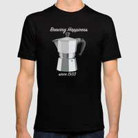 Brewing Happiness Mens Fitted Tee Black SMALL