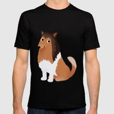 Collie - Cute Dog Series SMALL Black Mens Fitted Tee