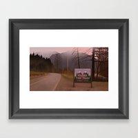 Road Sign Twin Peaks Framed Art Print