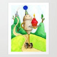 Birthday Robot 1: Cupcake Art Print