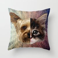 CatDog 2 Throw Pillow