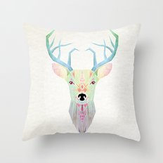 White Deer Throw Pillow