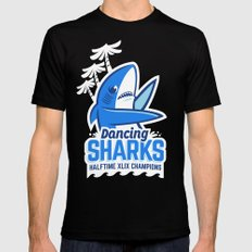 Dancing Sharks SMALL Mens Fitted Tee Black