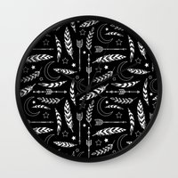 Feather & Arrow Pattern Wall Clock