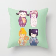 Kokeshis Four Seasons Throw Pillow