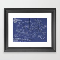 Time Machine Blueprint Framed Art Print