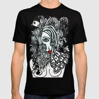 Girl in Bird Mens Fitted Tee Black SMALL