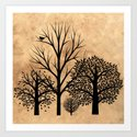 Trees Silhouette  Art Print