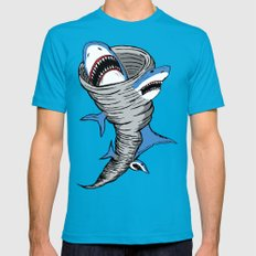 Shark Tornado Mens Fitted Tee Teal SMALL