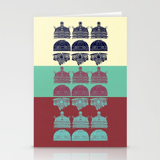 Robots don't like stairs (R2D2, Johnny 5 & The Dalek) Stationery Card