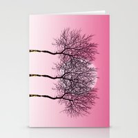 Triplet Trees In Pink Stationery Cards