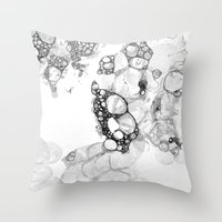 Bubbles Black and White Throw Pillow