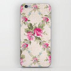 Vintage Pink Floral Lattice iPhone & iPod Skin