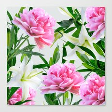 Pink Peonies & White Lil… Canvas Print