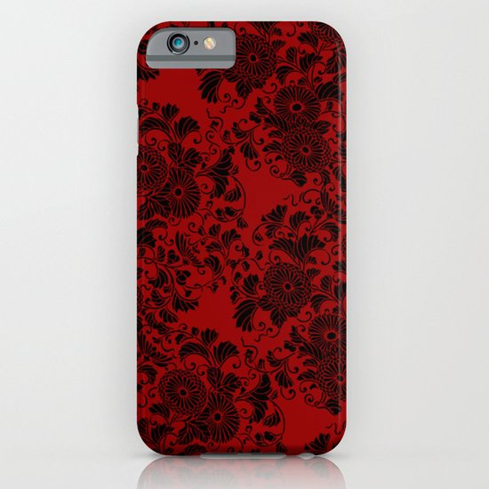 Chrysanthemum II Black on Red iPhone & iPod Case