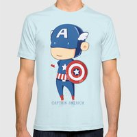 Captain America Mens Fitted Tee Light Blue SMALL