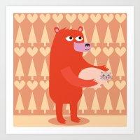 Bear And Cat BFF Art Print