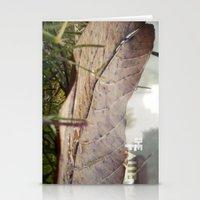 Dew drops on a fallen leaf Stationery Cards