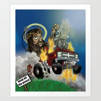 Hot-roddin' Jesus Art Print