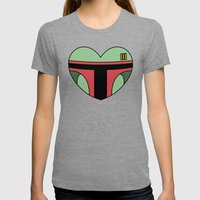 Boba Fett Character Hear… Womens Fitted Tee Tri-Grey SMALL