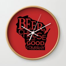 Red and Black Beer, Cheese and Good Company Wisconsin Graphic Wall Clock