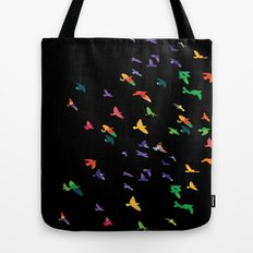 Colorful flying birds group Tote Bag