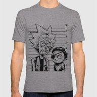 Rick And Morty Mens Fitted Tee Athletic Grey LARGE