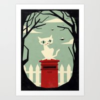 Let's meet at the red post box Art Print