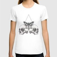 Skull Moth Womens Fitted Tee White SMALL
