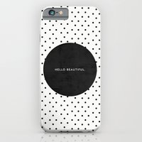 iPhone & iPod Case featuring BLACK HELLO BEAUTIFUL - POLKA DOTS by Allyson Johnson