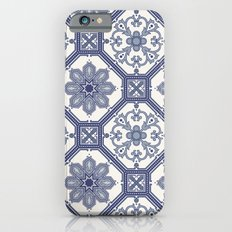 White & Blue Contemporary Floral Pattern Slim Case iPhone 6s