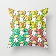 Alien Days Pattern Green Throw Pillow
