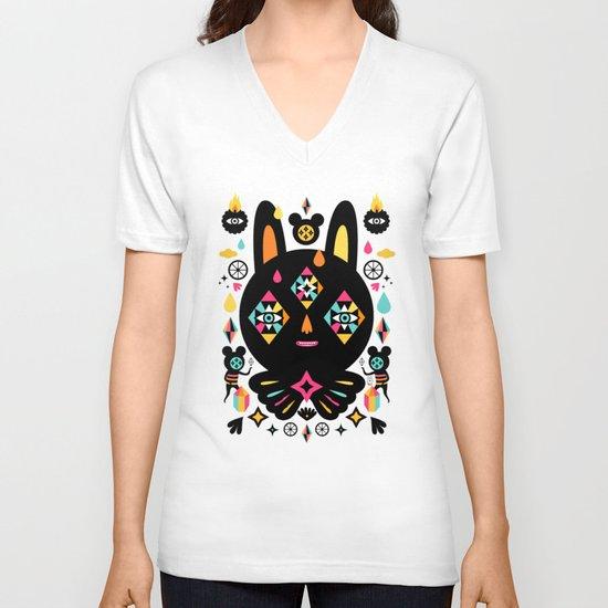 Rainbow Bunny V-neck T-shirt