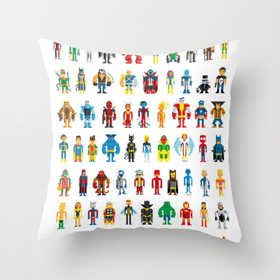 Pixel Heroes Throw Pillow