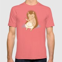 Hedgehog Stitching A Hed… Mens Fitted Tee Pomegranate SMALL
