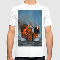 House On Fire Mens Fitted Tee White SMALL
