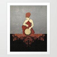 Rastafari Woman on Bongo Drum vertical Art Print