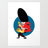 Soldier playing the saxophone Art Print