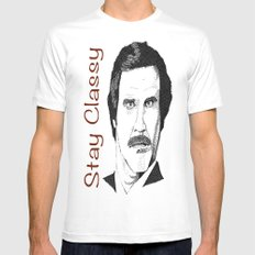 I'm Ron Burgundy? White SMALL Mens Fitted Tee