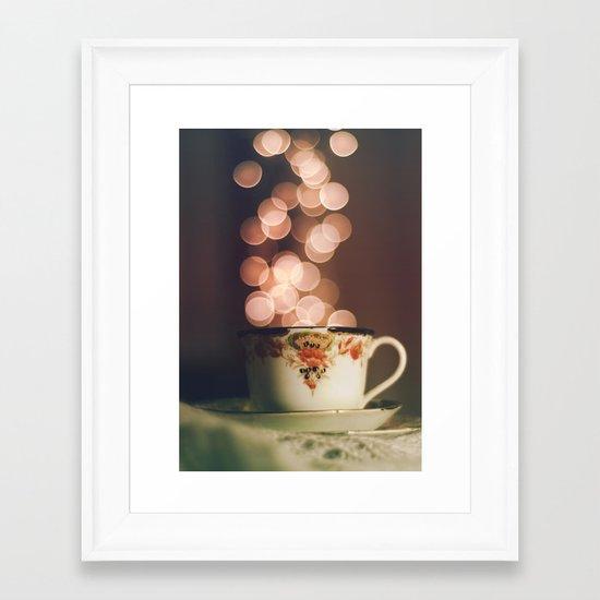 Tea time with stars Framed Art Print