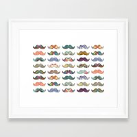 Framed Art Print featuring Mustache Mania by Bianca Green