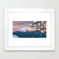 mt. fuji and cherry blossoms Framed Art Print