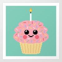 Happy Pixel Cupcake Art Print