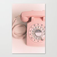 vintage PHONE pink Canvas Print
