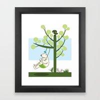 Polar Bear Play A Swing Framed Art Print