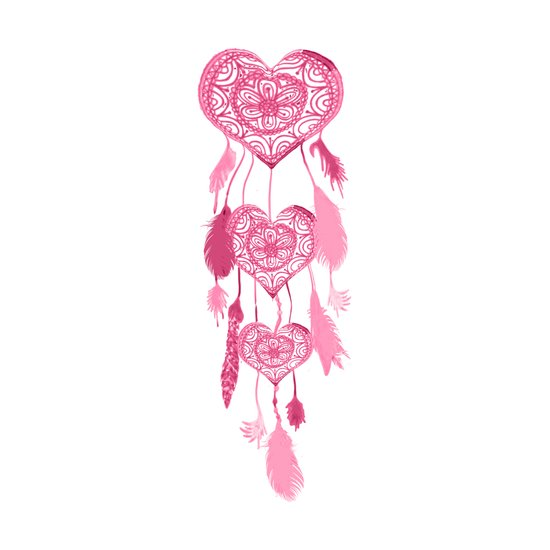Hipster Heart Dreamcatcher Girly Pink Cute Pastel Art Print