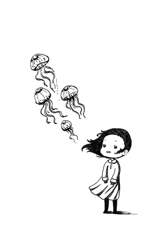 Girl and the Jellyfish Art Print