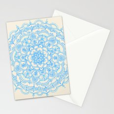 Pale Blue Pencil Pattern - hand drawn lace mandala Stationery Cards