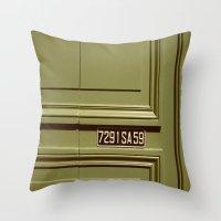 Green doorway  Throw Pillow