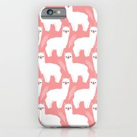 iPhone Cases featuring The Alpacas II by littleoddforest